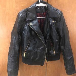 Free people vegan leather bomber style jacket sz M